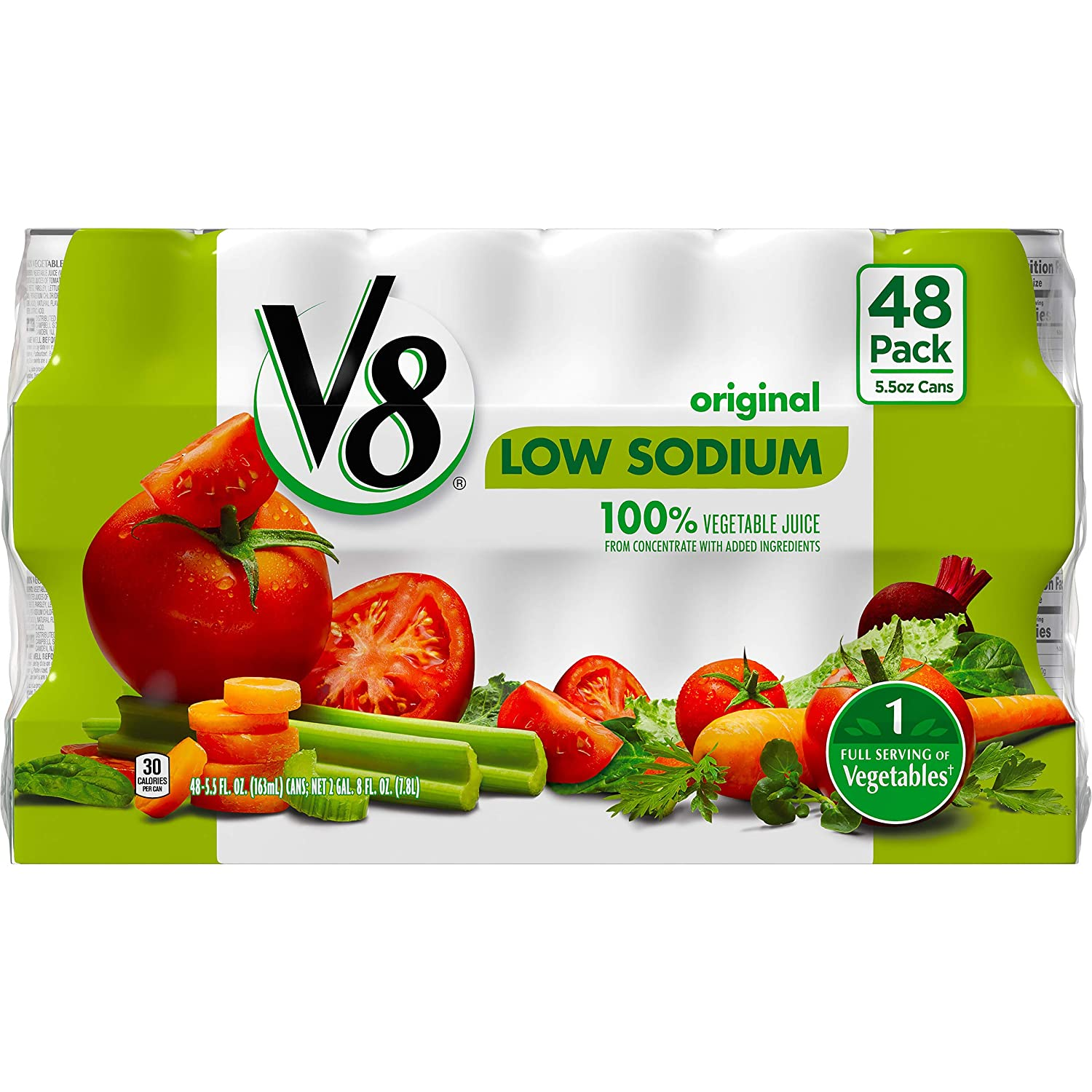 V8 Low Sodium 100% Vegetable Juice, 5.5 oz. can, (Pack of 48)