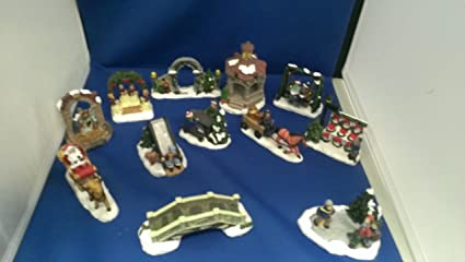 cobblestone corners christmas village accessories set of 12 pcs