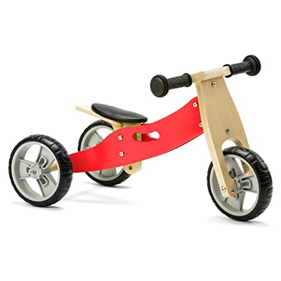 Nicko Mini 2 in 1 Wooden Balance Bike Toddler Trike Red 18 Months +: Toys & Games