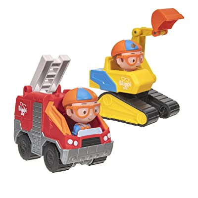 Blippi Mini Vehicle 2 Pack, Excavator & Fire Truck: Toys & Games