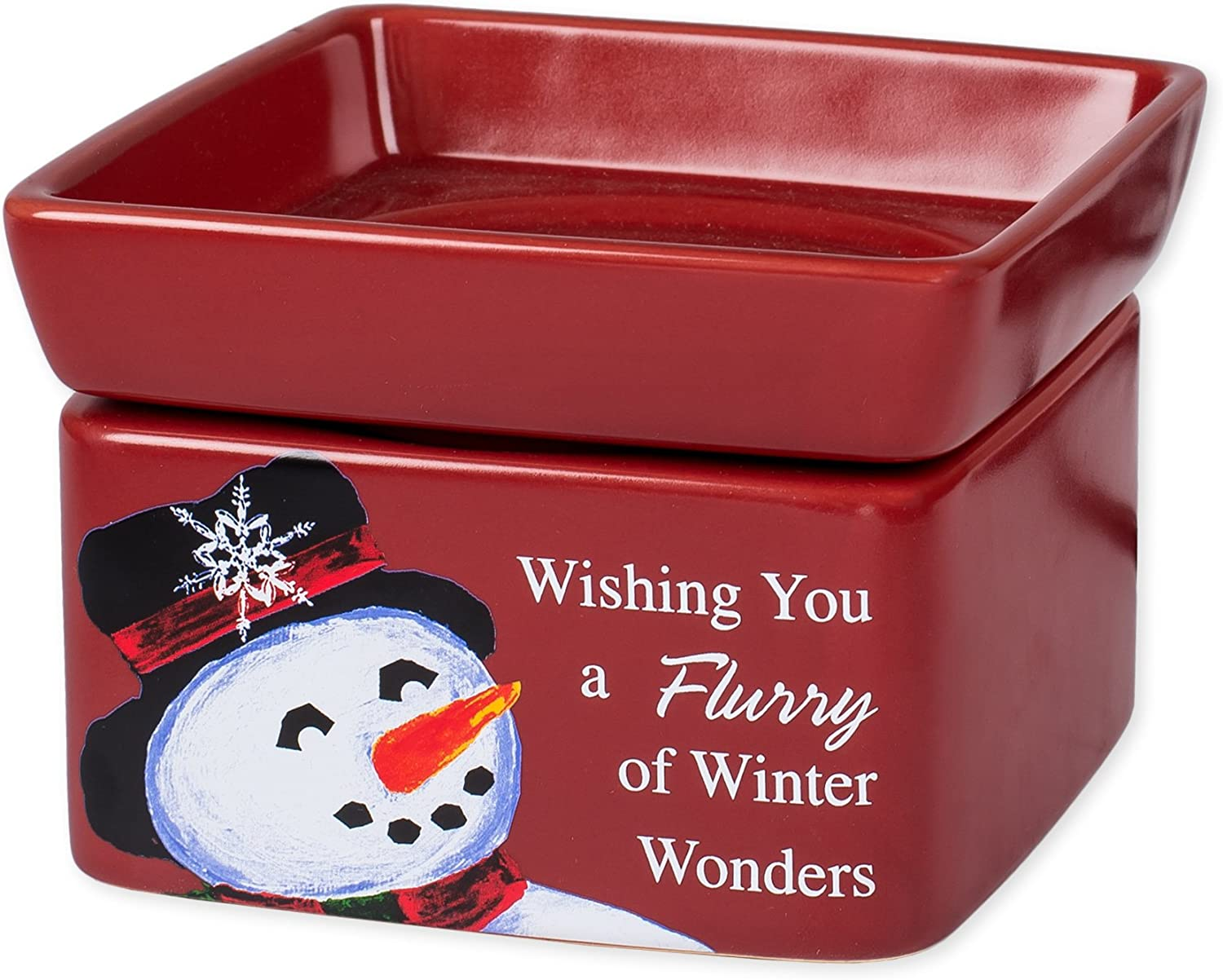 Elanze Designs Snowman Winter Wonders Christmas Stoneware Electric 2 in 1 Jar Candle and Wax Tart Oil Warmer