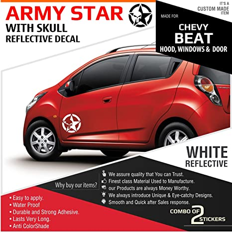 Carmetics Army Star With Skull Reflective Decal For Chevrolet Beat