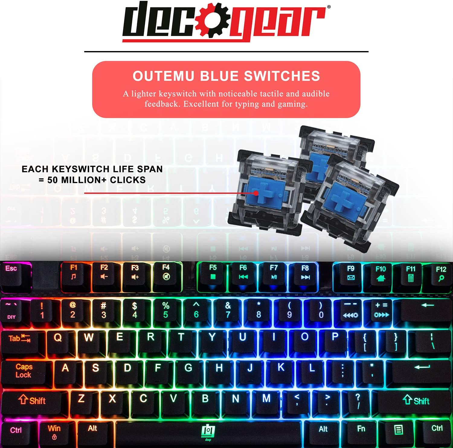 Deco Gear Mechanical Gaming Keyboard Ergonomic Fixed Palm Rest Outemu Blue Switch Black Carbon Fiber Design Anti-Ghosting Wired Full Customizable RGB Backlit