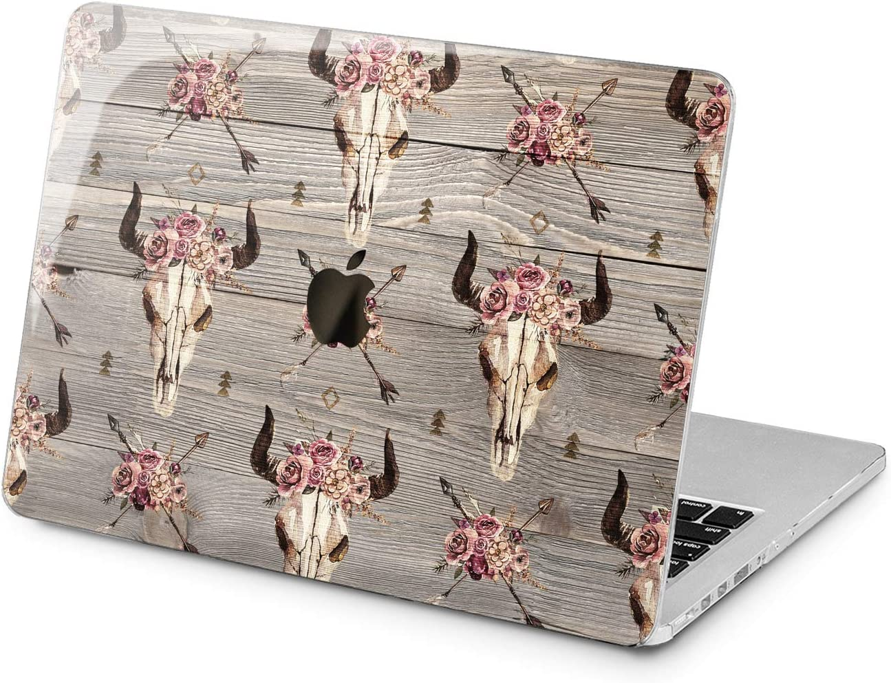 "Cavka Hard Shell Case for Apple MacBook Pro 13"" 2019 15"" 2018 Air 13"" 2020 Retina 2015 Mac 11"" Mac 12"" Vintage Skull Wood Plastic Boho Design Floral Laptop Pattern Protective Bohemian Cover Print"