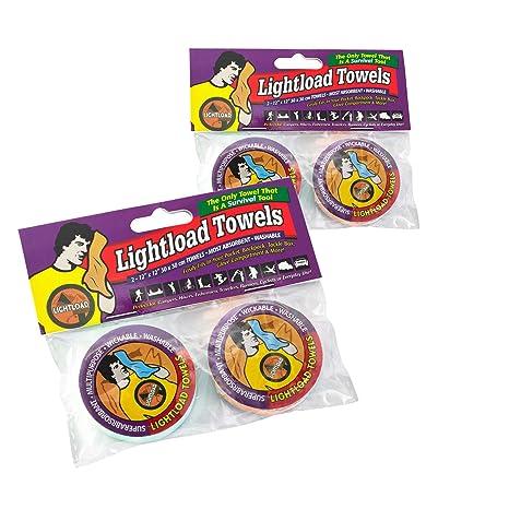 Lightload Toallas Extrema Vida, Espacio y Peso ahorradores (2 Paquetes de Dos Toallas de