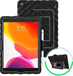 GumDrop Hideaway Case Designed for The New Apple iPad 10.2 7th Gen (2019) Tablet Commercial, Business and Office Essentials - Rugged, Shock Absorbing, Extreme Drop Protection (Black)
