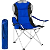 TecTake Folding upholstered camping chair with drink holder & bag - different colours and quantities-