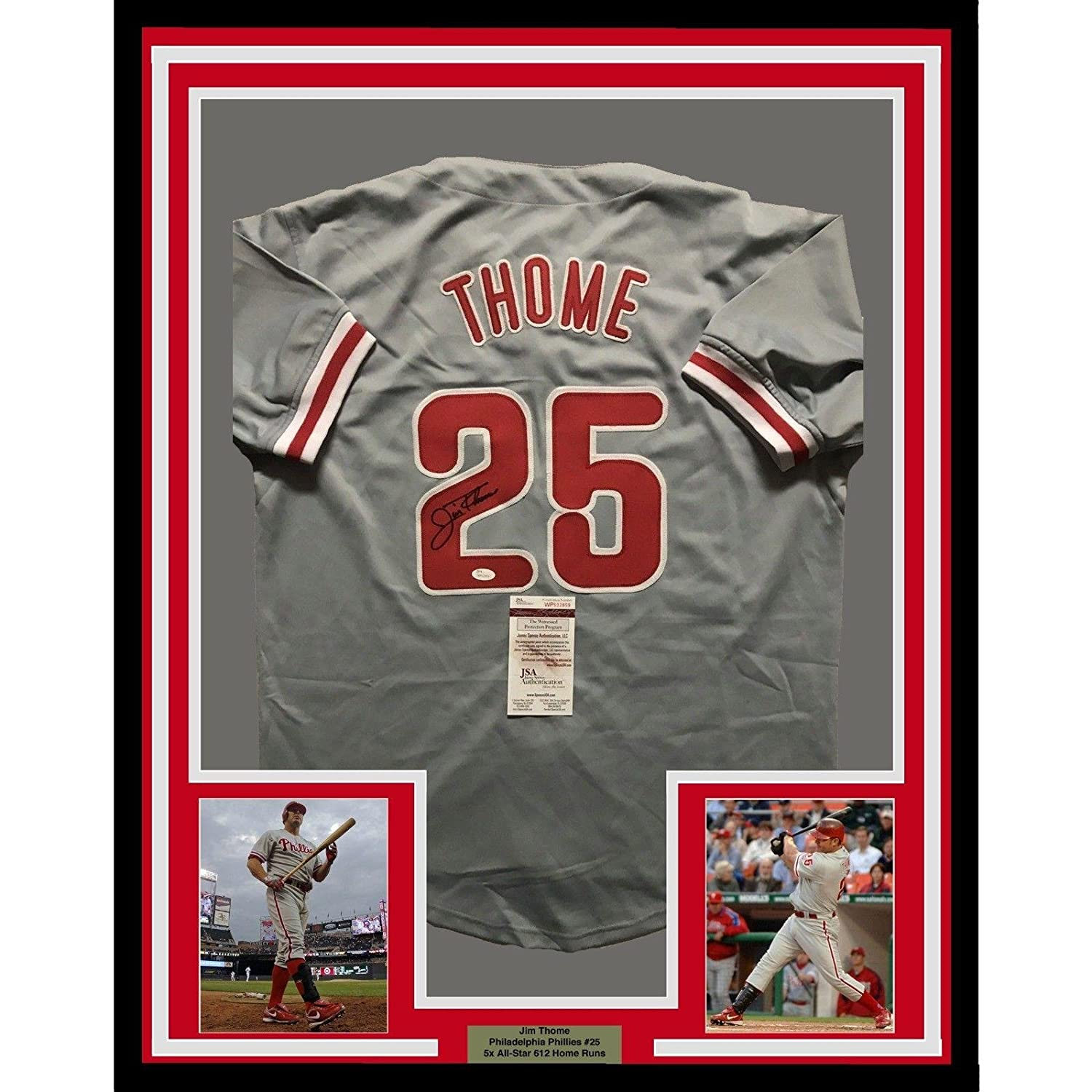 e4305c9dc Amazon.com: Autographed Jim Thome Jersey - FRAMED 33x42 COA - JSA Certified  - Autographed MLB Jerseys: Sports Collectibles