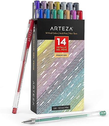Arteza Bolígrafos de tinta de gel metálica | Set de 14 colores | Bolis de gel con punta de 0.8-1.0 mm | para colorear: Amazon.es: Oficina y papelería