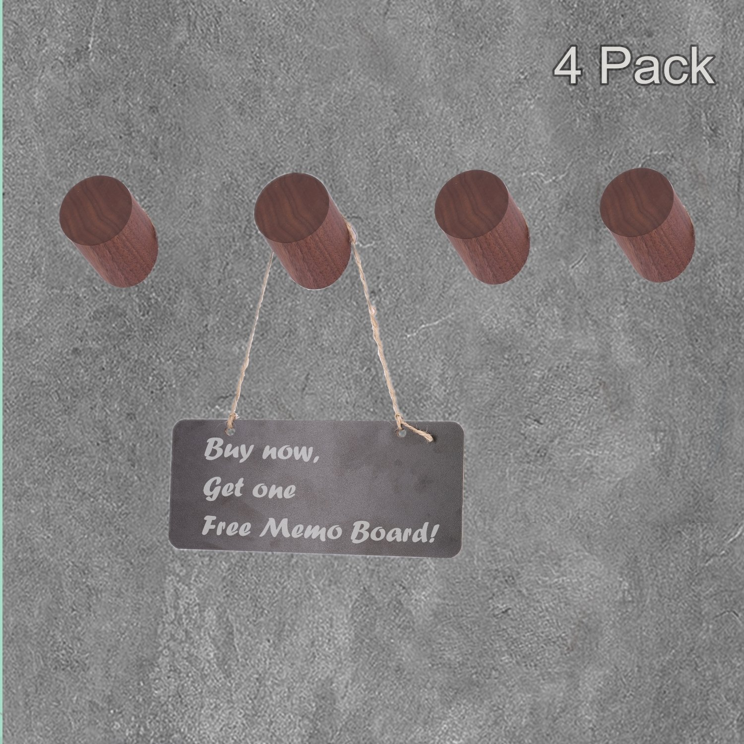 COMMODA Black Walnut Natural Wooden Coat Hooks Wall Mounted Vintage Single Utility Rack Organizer Hangers, Handmade Decorative Craft Clothes Hat Bags Rack, (Set of 4) Message Board for Free