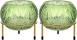 Glass Candle Holders – Set of 2 Green Hurricane Lamps with Free Stand – Bowl - Decorative Vases for Flowers - Centerpiece – 4 inch/10cm Tall - Living Room, Table, Desk, Bedroom, Patio, Garden - Gifts