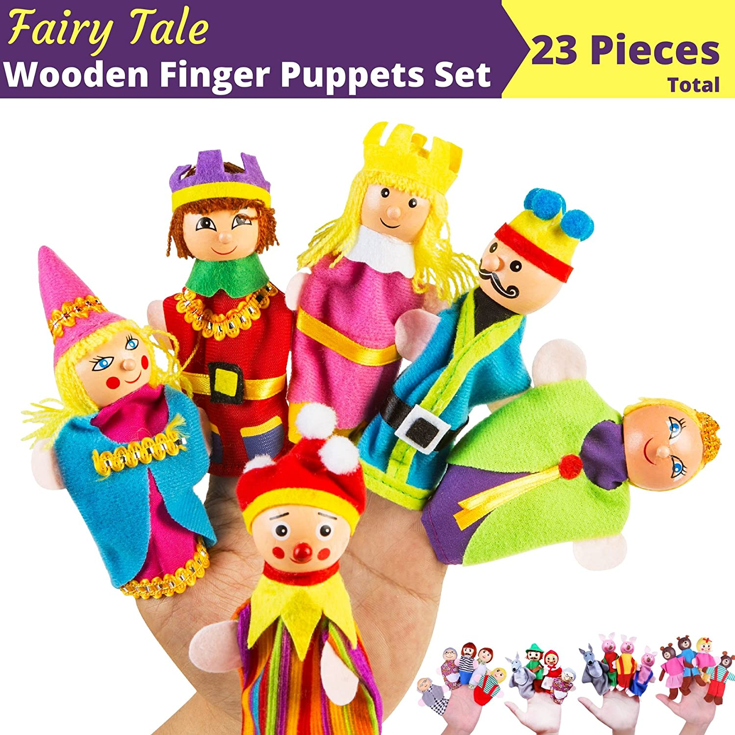 BETTERLINE Premium Wooden Finger Puppets 23-Piece Set / Fairy Tale & Nursery Rhymes Characters - Red Riding Hood, 3 Little Pigs, Goldilocks & the 3 Bears, Family and Kingdom Better Line ®