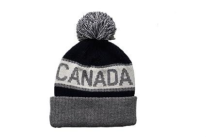 Amazon.com  CANADA Gray and Blue TOQUE HAT With BRIM   POM POM ... f03b61d3e74