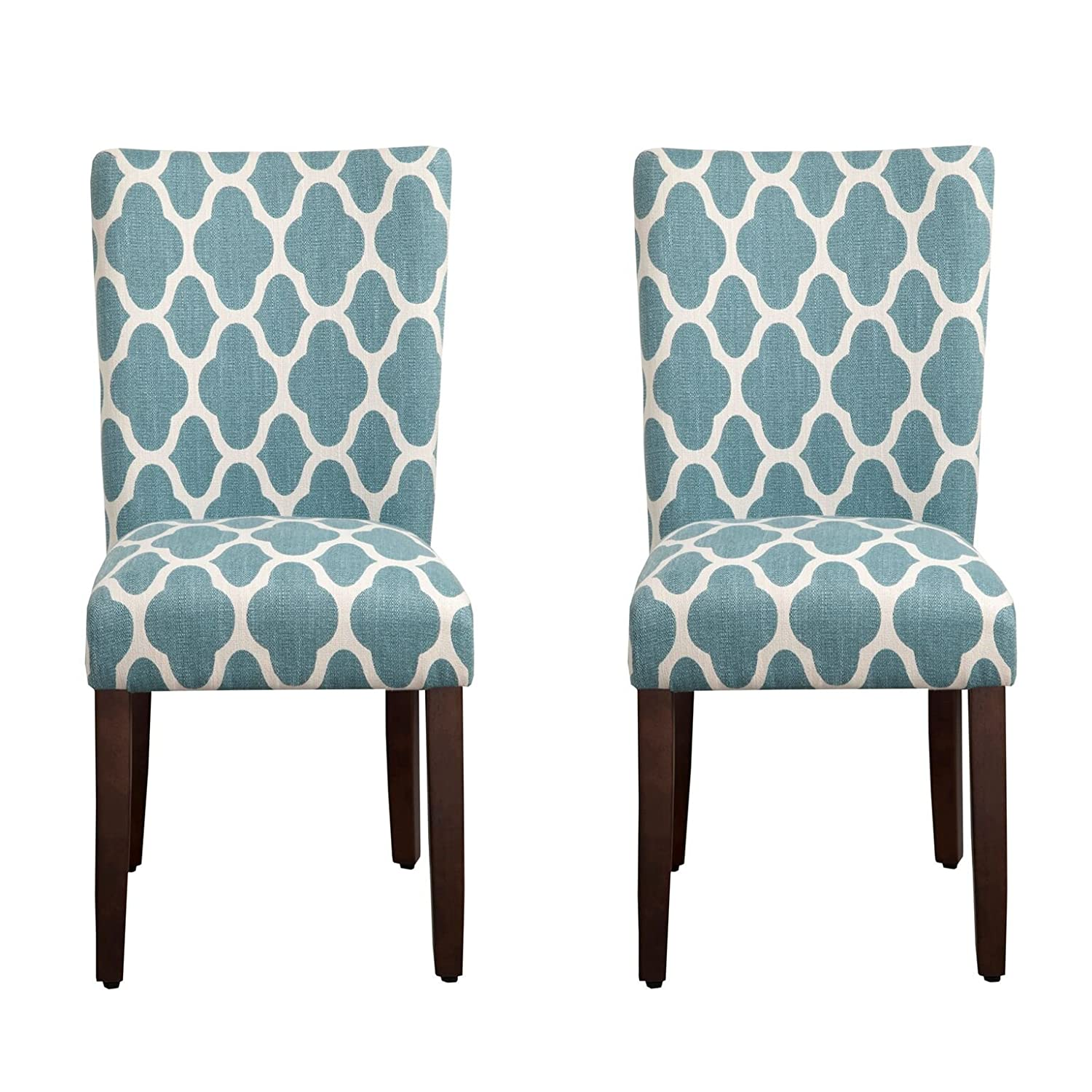 Kinfine Parsons Upholstered Accent Dining Chair, Set of 2, Teal and Cream Geometric