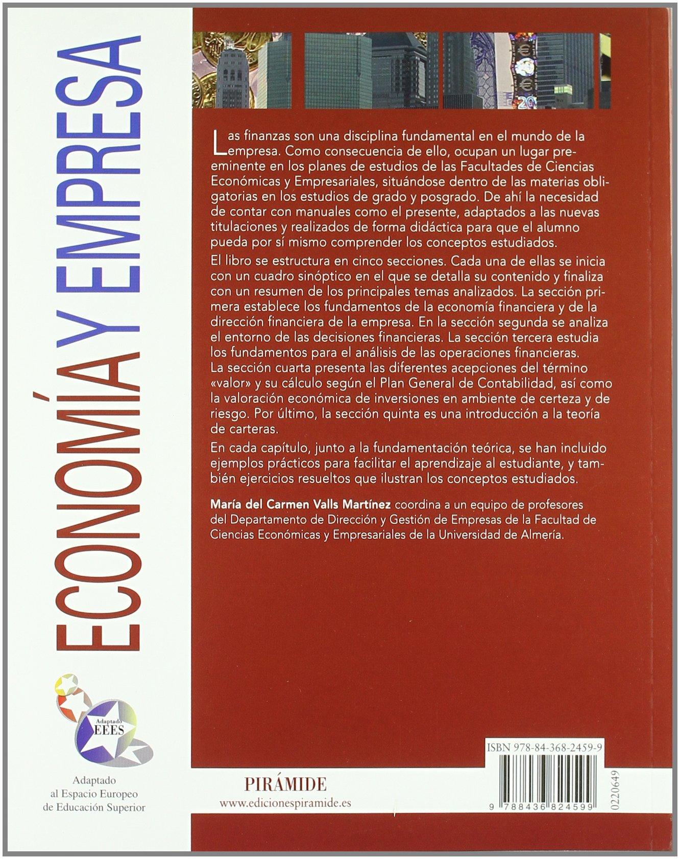 Introducción a las finanzas (Economía Y Empresa): Amazon.es: María del Carmen Valls Martínez: Libros