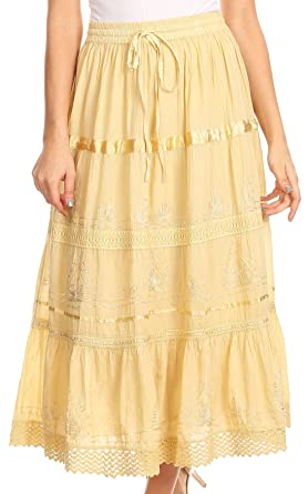 abaada989 Sakkas AA554M Solid Embroidered Gypsy/Bohemian Mid Length Cotton Skirt -  Burnt Yellow/One Size at Amazon Women's Clothing store: