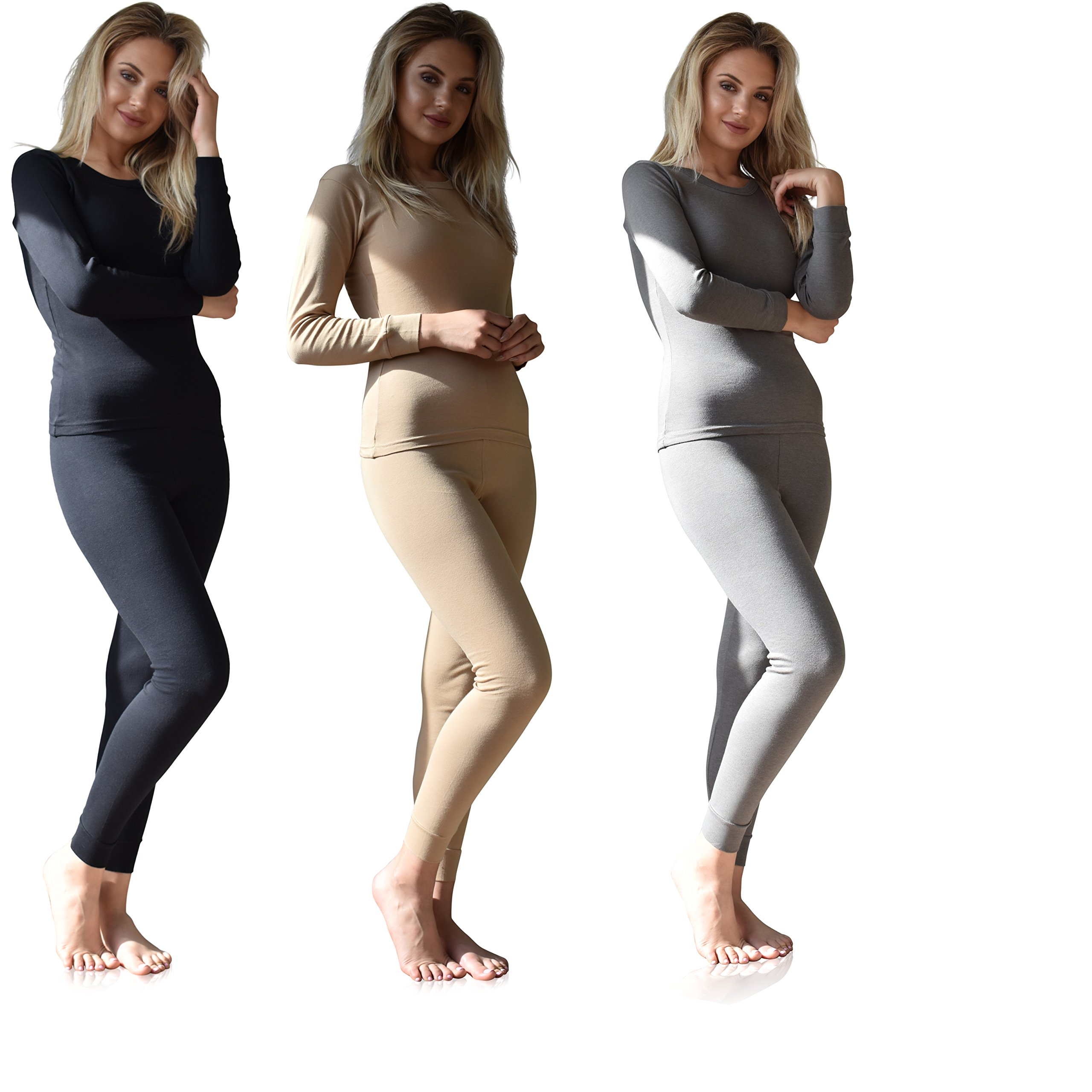 Women's Thermal Underwear Set Top & Bottom Fleece Lined Cotton (X-Large, 3 Sets Mix & Match -Black/Nude / Charcoal)