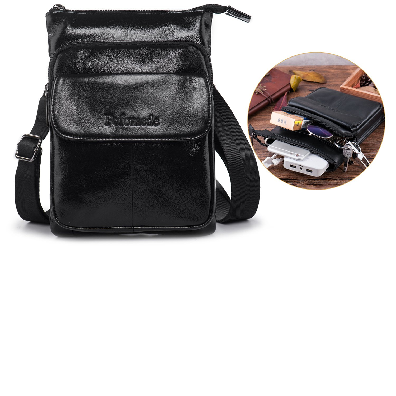 Men Leather Cross body Messenger Bag, Shoulder Purse Travel Bag Everyday Satchel Bag with Many Pockets (Black)