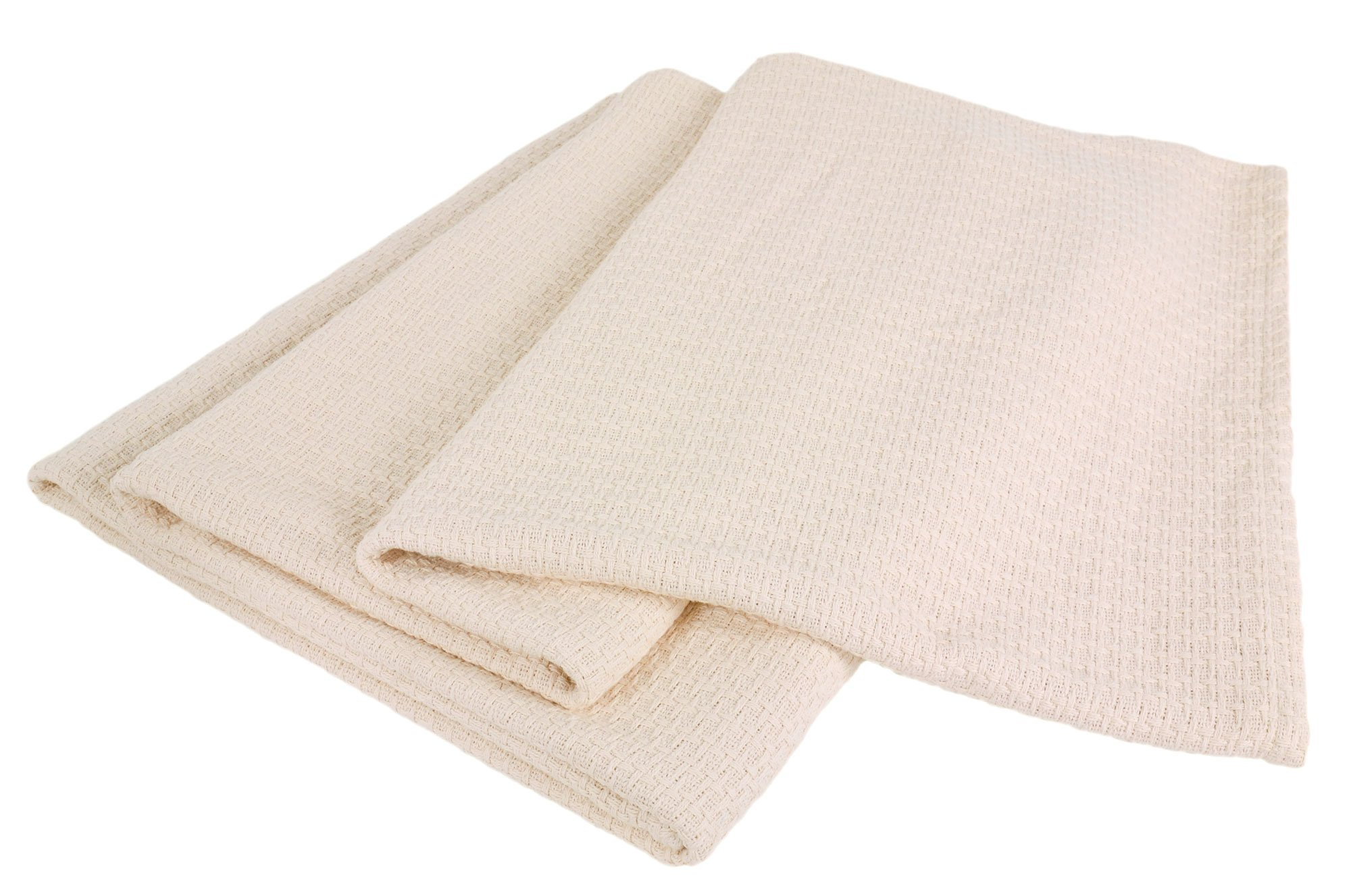 Elite Home Grand Hotel All-Natural 100-Percent Cotton Basket Woven Blanket Twin Size, Ivory