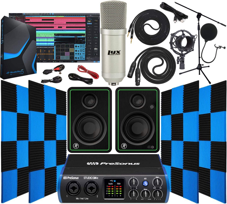 PreSonus Studio 24c 2x2 USB Type-C Audio/MIDI Interface with Mackie CR3-X Pair Studio Monitors 24 Pack Acoustic Soundproof Studio Foam Wedges Sound Insulation Panels