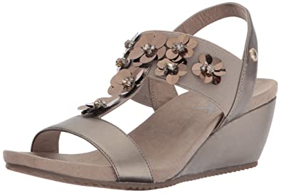 Anne Klein Womens Cassie Synthetic Wedge Metallic Taupe Synthetic Size 100