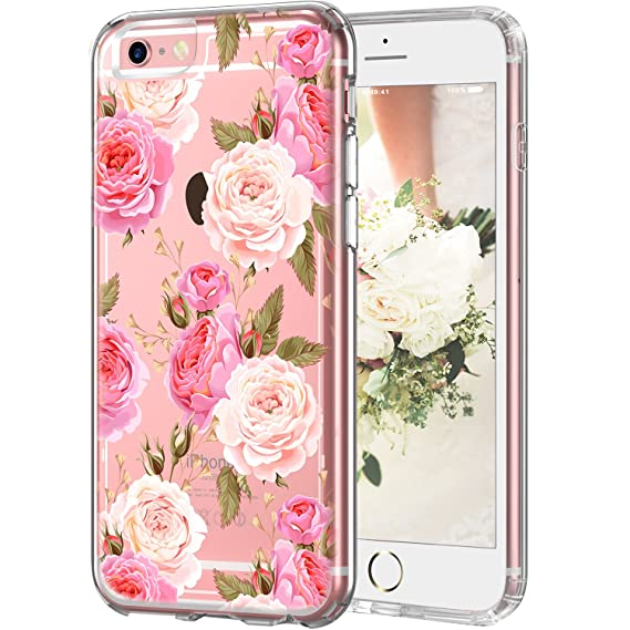 the best attitude f0f04 86860 Clear iPhone 6 Plus Case Pink and Champagne Flowers, LUHOURI Floral Case,  Transparent Plastic with Clear TPU Bumper Protective Back Phone Case Cover  ...