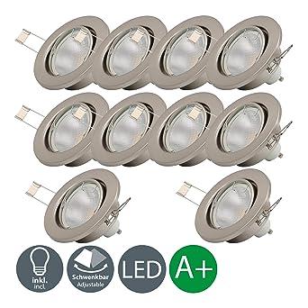 10x5W Focos empotrables Ø 86 mm, luces LED GU10, 230V, 3000K blanco cálido
