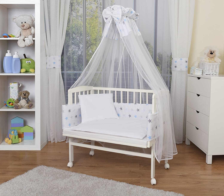 WALDIN Cuna colecho para bebé con equipamiento completo, lacado en blanco, 14 modelos a elegir a elegir,color textil blanco/estrellas gris-azul