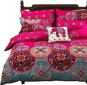 Vaulia Lightweight Microfiber Duvet Cover Set, Bohemia Exotic Patterns Design, Bright Pink - King Size