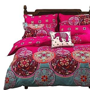Vaulia Lightweight Microfiber Duvet Cover Set, Bohemia Exotic Patterns Design, Bright Pink - Full/Queen Size