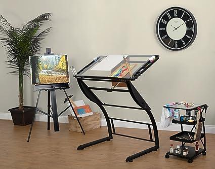 Studio designs triflex disegno tavolo metallo vetro chiaro