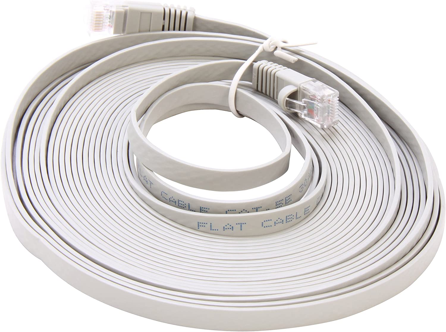 Coboc CY-CAT6-100-Gray 100-Feet 32AWG Cat 6 550MHz UTP Flat Ethernet Stranded Copper Patch Cord Network Gray Cable CY-CAT6-100-Gray