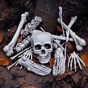 FUN LITTLE TOYS Halloween Bag of Skeleton Bones and Skull, 18 PCs Bag of Bones for Outdoor Halloween Decorations