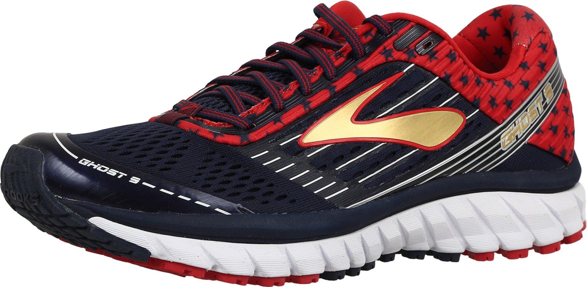 Brooks Men's Ghost 9 Peacoat Navy/True Red/Gold Sneaker 10 D (M)