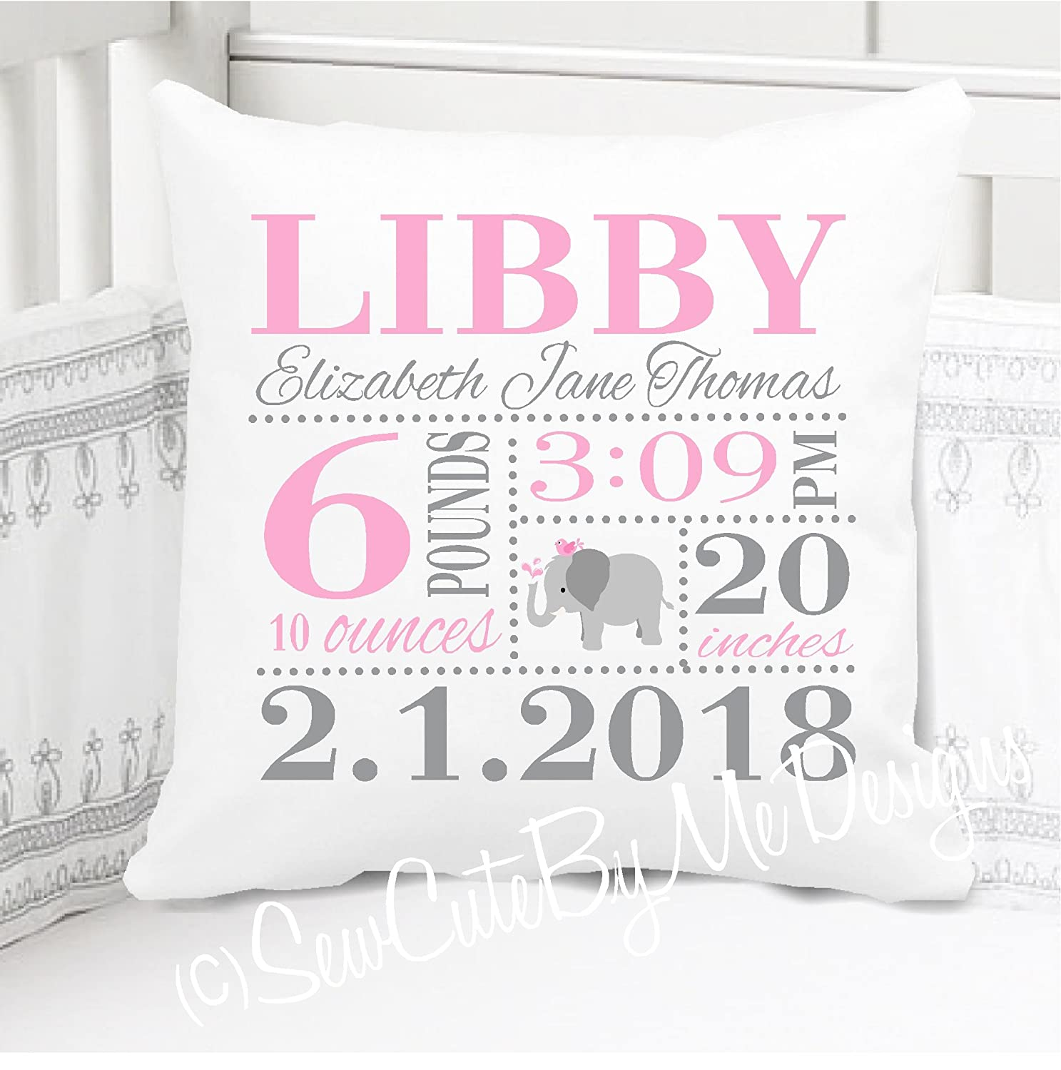Sew Cute by Me Designs Original Birth Announcement Pillow for Baby Girls Elephant Nursery in Pink and Grey - Includes Personalized Pillowcase and Pillow Insert 14