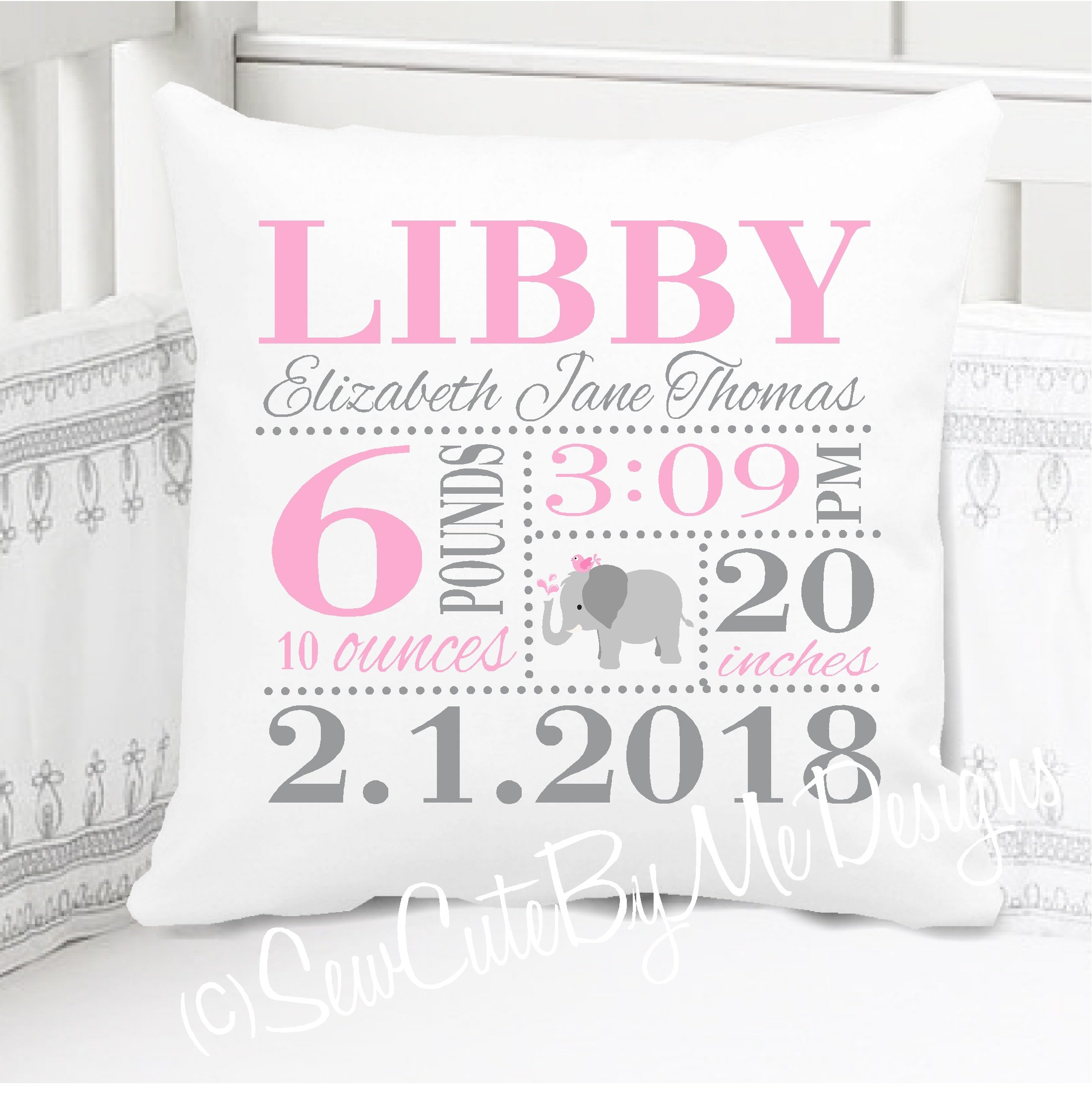 Sew Cute by Me Designs Original Birth Announcement Pillow for Baby Girls Elephant Nursery in Pink and Grey - Includes Personalized Pillowcase and Pillow Insert 14''x14'' or 16''x16''