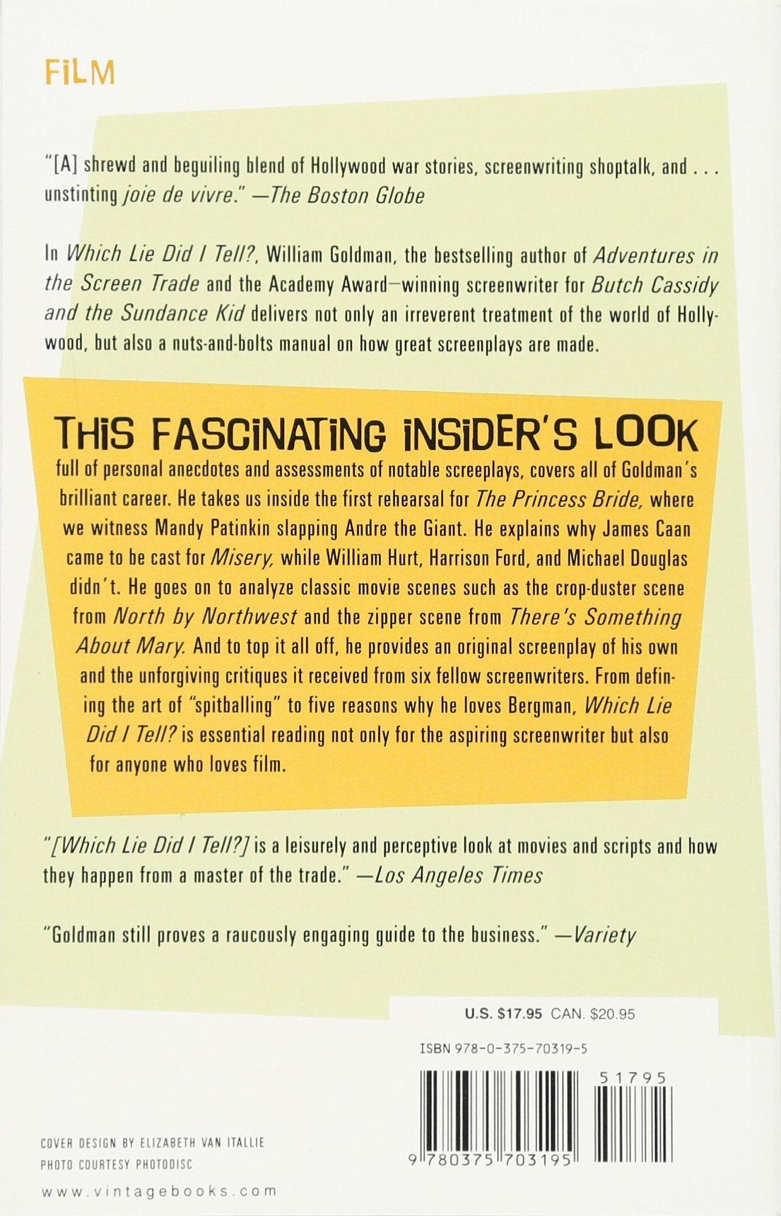 More Adventures in the Screen Trade: William Goldman: 9780375703195:  Amazon.com: Books