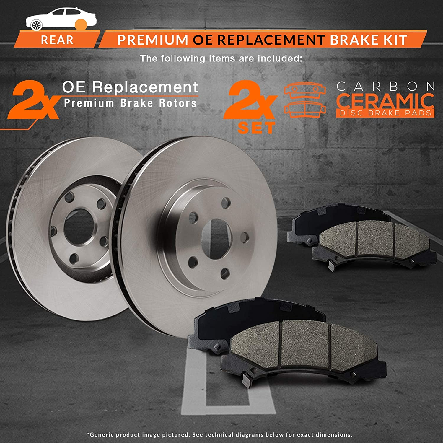 Fits: 2005 05 2006 06 2007 07 2008 08 2009 09 Pontiac G6 Max Brakes Rear Premium Brake Kit KT022342 OE Series Rotors + Ceramic Pads
