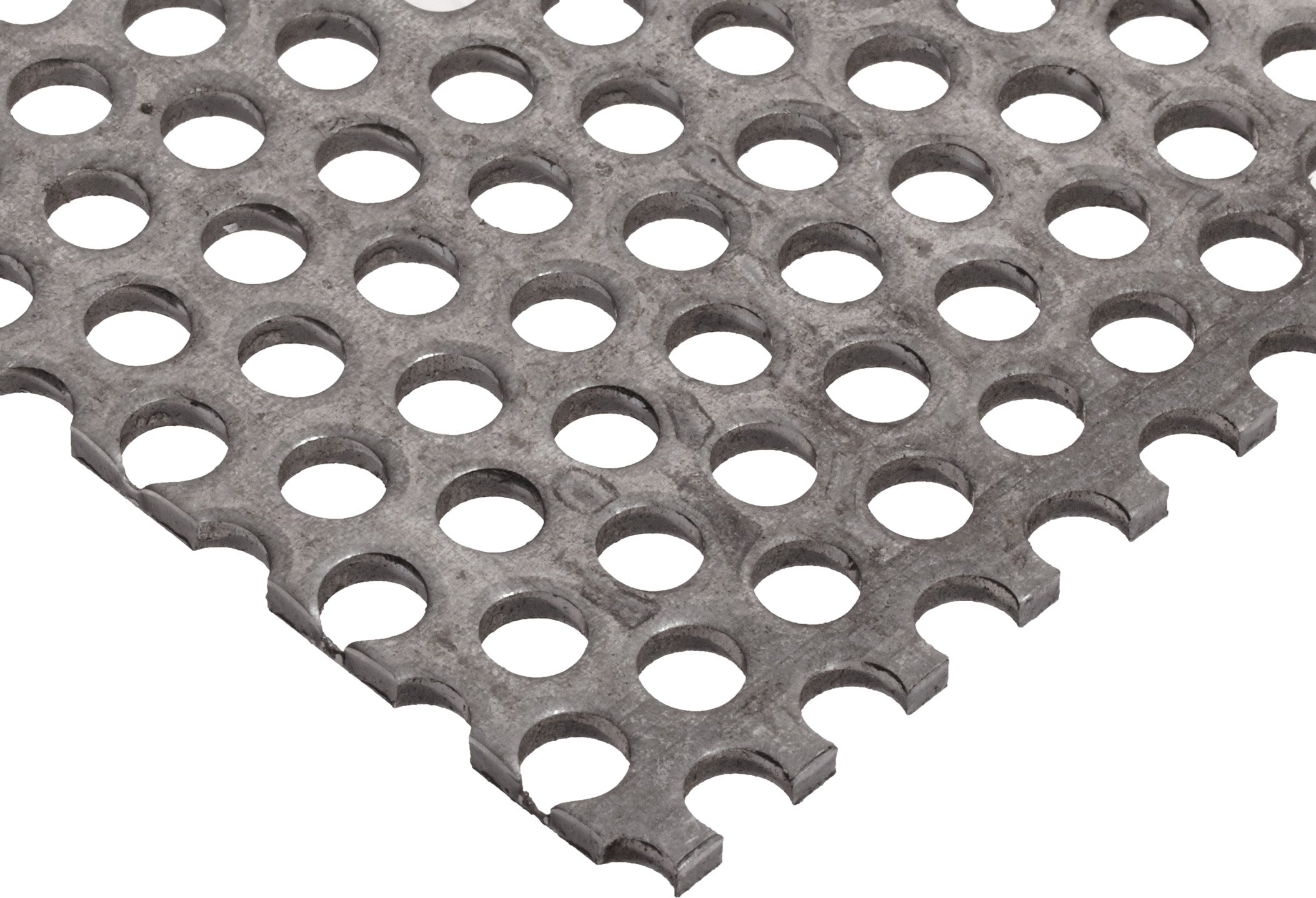 A36 Steel Perforated Sheet, Unpolished (Mill) Finish, Hot Rolled, Staggered 0.125'' Holes, ASTM A36, 0.036'' Thickness, 20 Gauge, 12'' Width, 12'' Length, 0.1875'' Center to Center