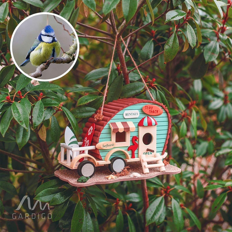 Terrasse oder Balkon I Nistkasten zum aufh/ängen f/ür Kleinv/ögel Gardigo Vogelhaus Wohnwagen I Dekoratives Vogelh/äuschen f/ür Garten
