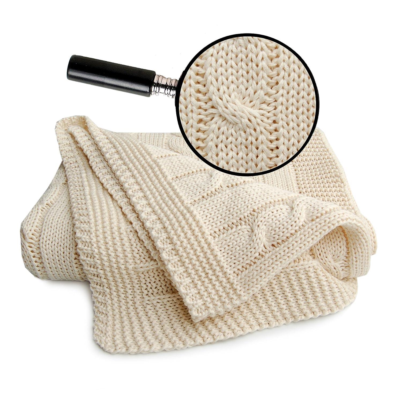 Sonnenstrick 3009009/Caramel Couverture//plaid b/éb/é//Couverture tricot/ée 100/% coton bio avec torsade