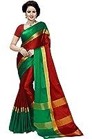 Vatsla Enterprise Women's Cotton Saree With Blouse Piece (Vbcs07_Red)