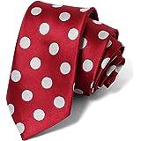 大玉ドット柄のスリムネクタイ Necktie 水玉 ビジネス スーツ メンズ M.H.A. 30114
