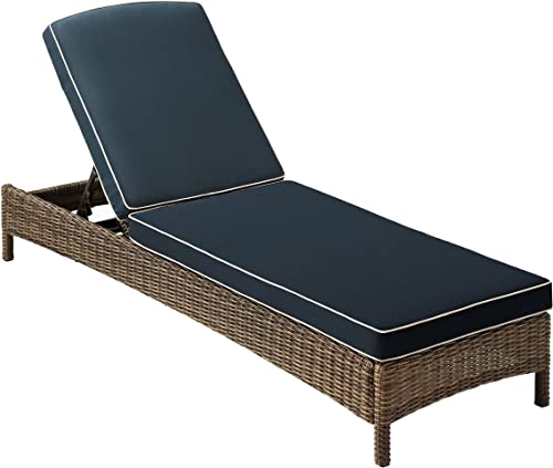 Crosley Furniture KO70070WB-NV Bradenton Outdoor Wicker Chaise Lounge, Brown with Navy Cushions