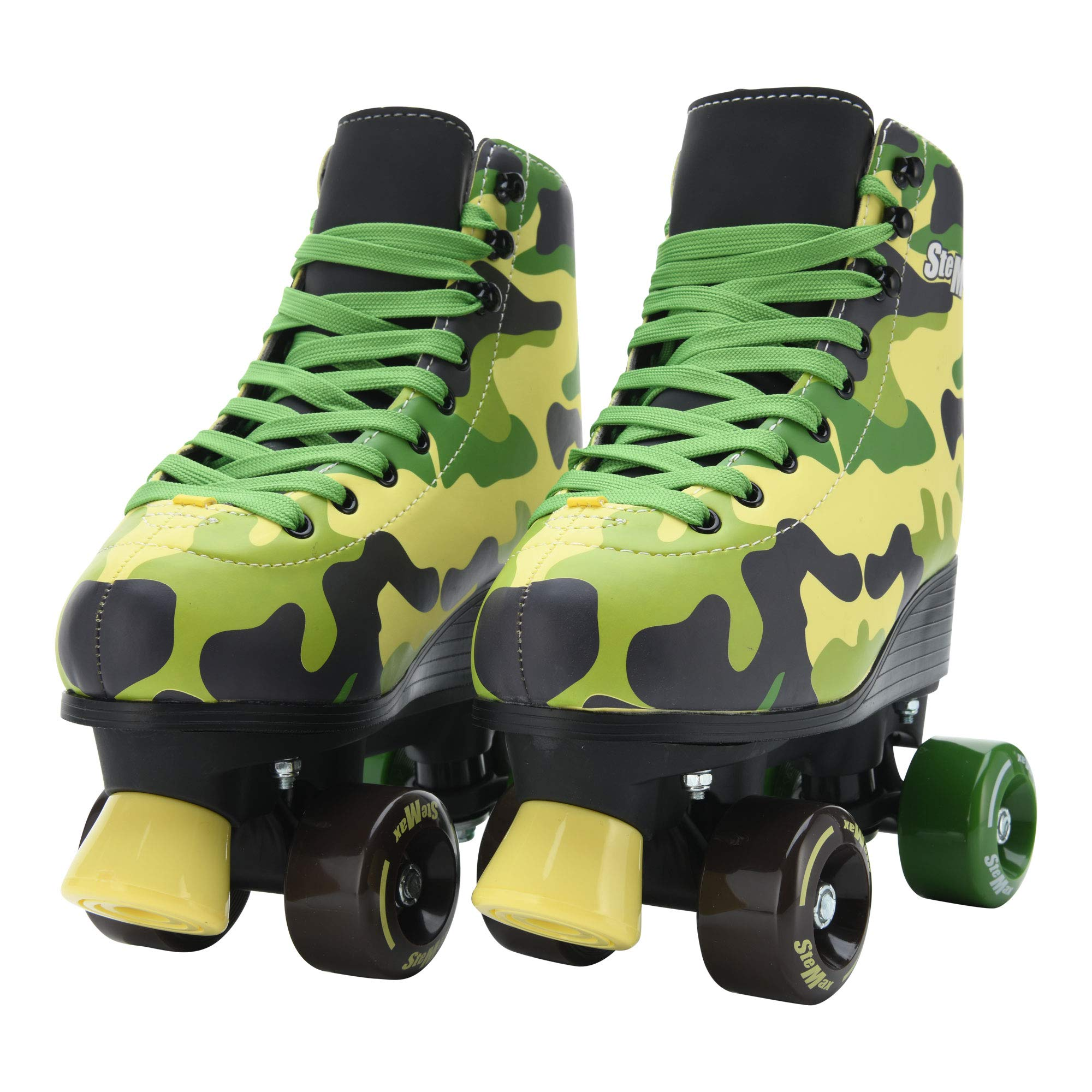 Stemax Quad Roller Skates for Girls & Boys. Outdoor Classic High Cuff Quad Skates with Lace System (4 Youth)