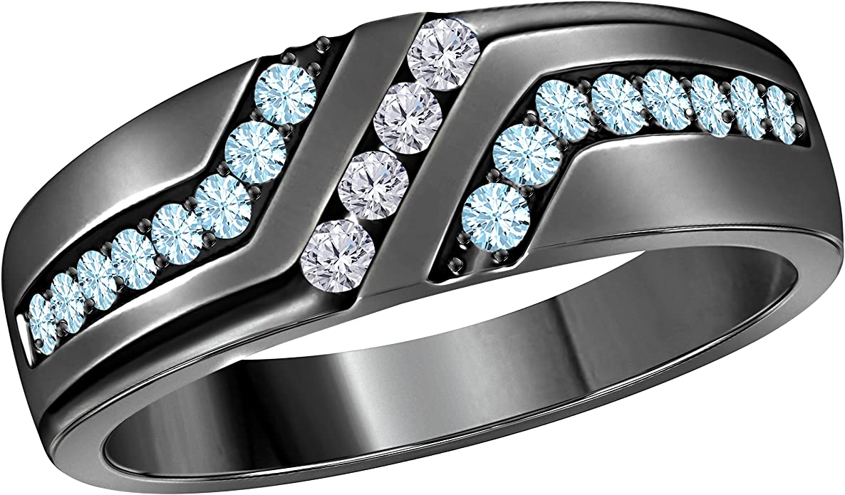 Jewelry Star Mens Wedding Band Engagement Ring 14k Gold Plated 925 Sterling Silver Cz Aquamarine Cubic Zirconia Round Amazon Com