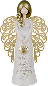 """You Are An Angel Figurine with Metal Wings, Charm, and Sentiment Message, 7"""" (Guardian Angel)"""