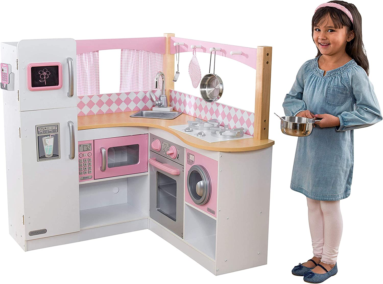 KidKraft-  Cocina de juguete de madera para niños con accesorios para juegos de dramatización incluidos Grand Gourmet Corner , Color Rosa y blanco (53185)