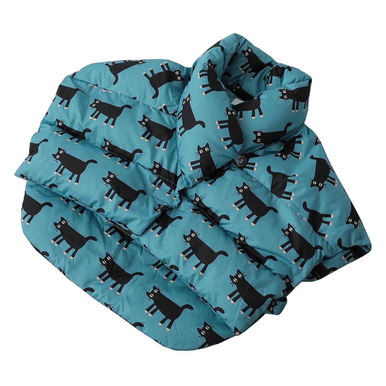 東京西川 ダウンベスト M-Lサイズ マタノアツコ リラックスタイムにぴったり 見つめる猫柄 ブルー KS17101902B B074M777TV ブルー|ベスト ブルー