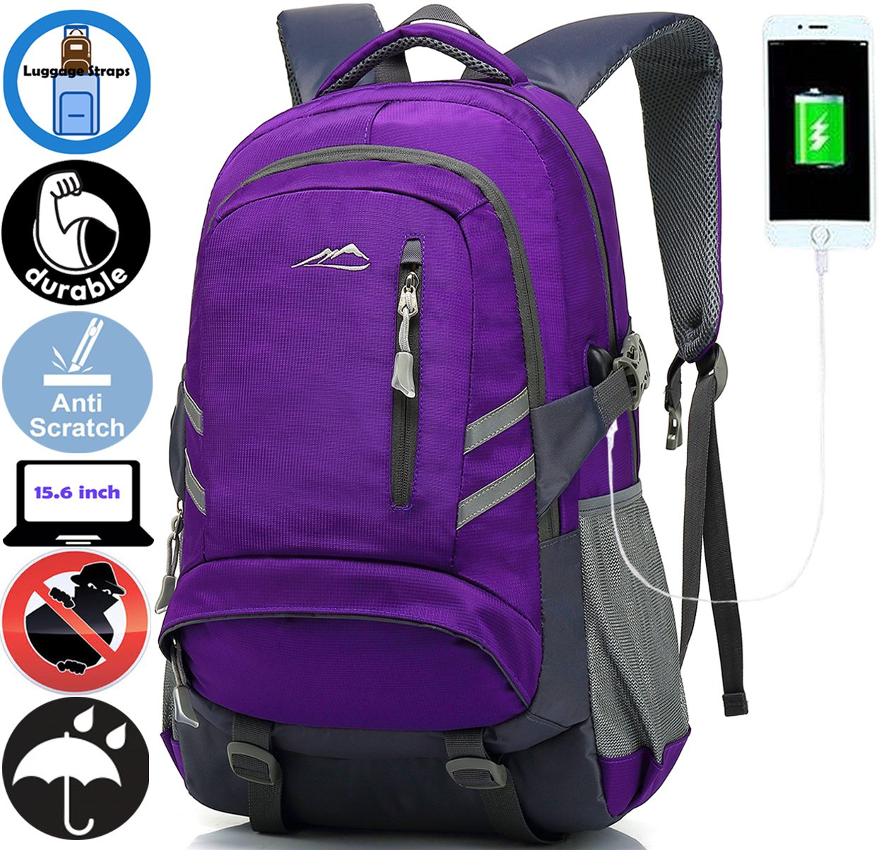 ANTSANG Backpack Bookbag For School Student College Business Travel with USB Charging Port Fit Laptop Up to 15.6 Inch Water Resistant Night Light Reflective Anti theft (Purple)